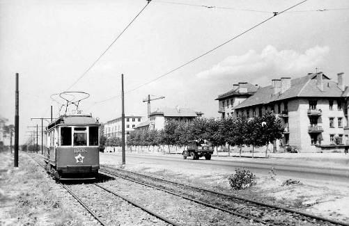Київ, 1956 рік. Трамвай №28 на вул.Діагональній (пр.Гагаріна)