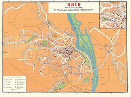 Київ, 1966 рік. Схема маршрутів міського транспорту (трамвайні - зеленого кольору)