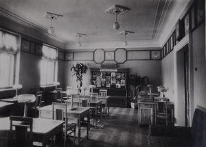 Читальний зал бібліотеки на ДВРЗ, 1954 рік