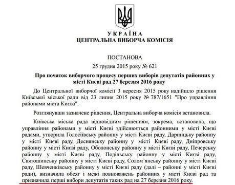 Постанова ЦВК про вибори райрад у Києві