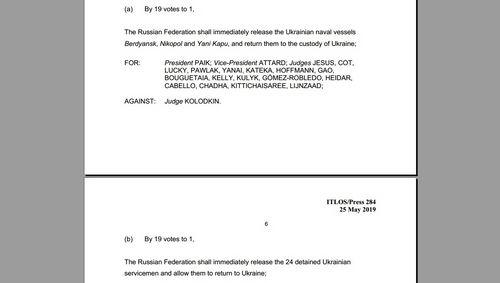 Трибунал ООН зобов`язав Росію відпустити захоплених українських моряків