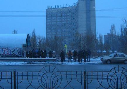 Збір учасників акції біля зупинки Русанівка 22 січня 2016 року