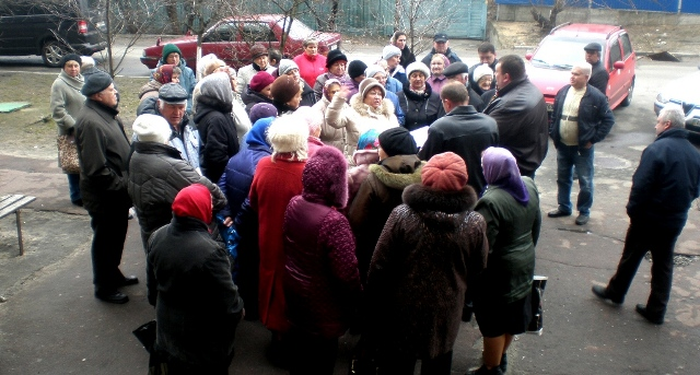 Фото першої зустрічі депутата Київради Павла Тесленко з мешканцями буд.22 по вул.Марганецькій